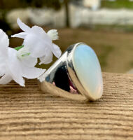 6g LOVELY RAINBOW MOONSTONE CRYSTAL 925 STERLING SILVER RING Reiki INDIA  Size 7
