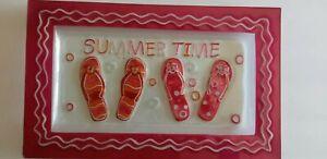 """Cute Glass Serving Platter """"Summer Time"""" With Flip Flops"""