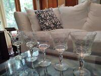Set 5 Rare Vintage Cut Crystal Wine Glasses