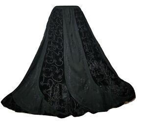 Black Winter Velvet Skirt Gothic Party Medieval Halloween 12 14 16 18 20 22