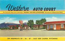(#003) Western Auto Court Motel East Yellowstone Casper Wyoming 1940s Postcard