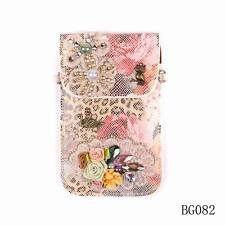 New Pu Leather Crystal Flower Bird Mobile Phone Bag Coin Purse Wallet For Women