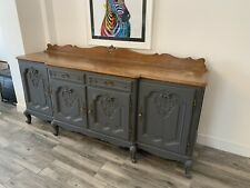 FRENCH LOUIS XV STYLE 4 DOOR/2 DRAWER LARGE Grey Wood SIDEBOARD - (CONSB27).