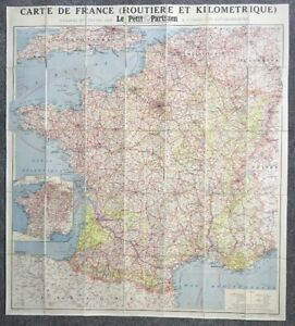 Huge Antique Le Petit Parisien Linen Backed Map 100x90cm, Carte De France
