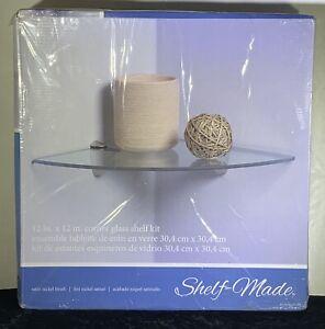 "Shelf-Made KT-0134-1212SN, 12"" x 12"" Corner Glass Shelf Kit"