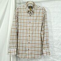 Cabelas Men's L Shirt Plaid Button Long Sleeve White Brown Mint Condition #c