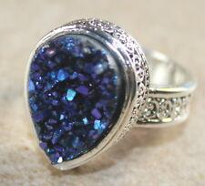 SILVER Vintage Style Royal Blue Rainbow Titanium Druzy Teardrop Ring Size 9