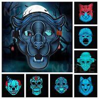 Sound Reactive LED Light Up Activated Halloween Mask Dance Rave EDM Plur Party