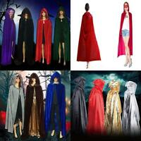 HOT Halloween Medieval Witchcraft Cape Gothic Hooded Cloak Wicca Robe Adults CI