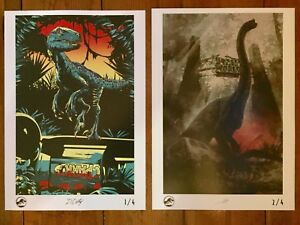 2 LIMITED EDITION JURASSIC WORLD OFFICIAL UK PRINT POSTERS 1 AND 2 JURASSIC PARK