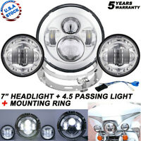 "7"" Chrome LED Projector Headlight + Passing Light +Mount Ring For Harley Touring"