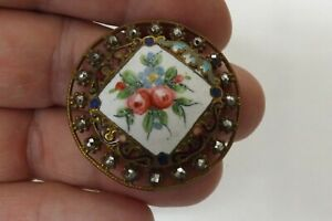 RARE ANTIQUE FRENCH ENAMEL AND CUT STEEL BUTTON GOOD CONDITION 3.5CMS (3379)