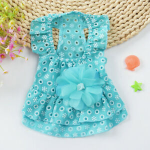 Pink/Blue Summer Flower Cotton Baby Pet Clothes Cat Dog Clothing Puppy Dresses