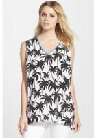 Vince Camuto Womens Oasis Black and White Palm Tree Sleeveless Top Plus Size 1X