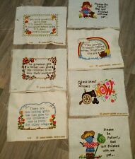 Inspirational Vintage Sayings Wool Crewel Embroidery Finished Completed in 1970s