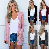 Women Long Sleeve Pocket Knitted Cardigan Sweater Casual Outwear Coat Jacket Top