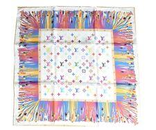 "Louis Vuitton Monogram Scarf Silk 65 cm Multi-color LV 26"" Authentic"