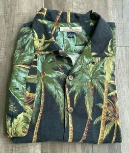Tommy Bahama Men's Large Tropical Palm Short Sleeve Button Down Shirt 100% Silk