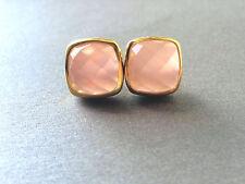 Chalcedony EARRING STUD Cushion Cut PINK Chalcedony Vermeil Gold Earrings