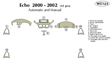TOYOTA ECHO 2000 2001 2002 DASH TRIM KIT