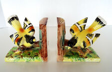 YELLOW BIRD BOOKENDS Ucagco Ceramic Japan Vintage Goldfinch Oriole Pottery Lot