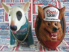 New Vtg 1987 Coors Light Beer Wolf 3-D Face In Motion Hanging Bar Pub Sign Sweet
