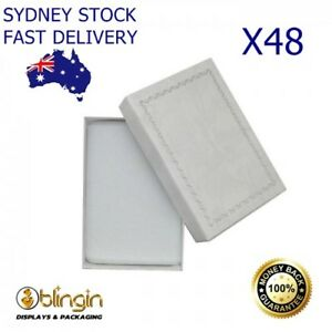 X48 Premium Solid White Cardboard set gift boxes with silver trim 54x80x23mm. AU