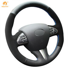 Black Leather Suede Steering Wheel Cover for Infiniti Q50 2014 2015 QX50 2015