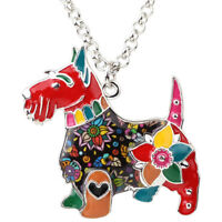 Enamel Alloy Scottish Terrier Dog Necklace Choker Animal Jewelry For Women Girls