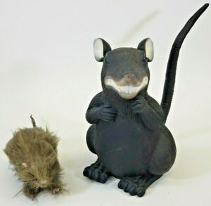 Scary Rats Halloween Decor Big Black Rubber 10 in Tall and Hairy Rat