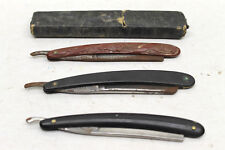 3 pc Antique Straight Razors Barber Shave Mens Grooming Blades Germany + USA