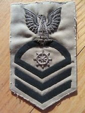 8P/NAVY BULLION ON CLOTH PATCH/EAGLE/SHIP'S WHEEL/WWII/STRIPES/42/RARE!
