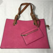 Purse Handbag Hot Pink Pleather Tan Handles New