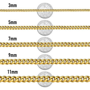 """18""""-36"""" Stainless Steel Gold Chain Cuban Curb Mens Women Necklace 3/5/7/9/11mm"""
