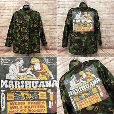 Reworked Camo Army Combat Jacket With Marijuana Print - Size Large - Fast P&P