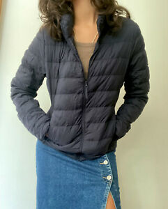Uniqlo Ultra light thin Navy Blue Puffer Small Women Quilted Jacket Down Travel