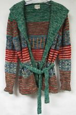 Vintage 70s Cardigan Sweater Static Stripe Dots Hooded Belted Open Wrap Boho