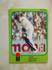 SCANLENS 1981/82 WSC CRICKET CARD - John Emburey # 58 (Eng)