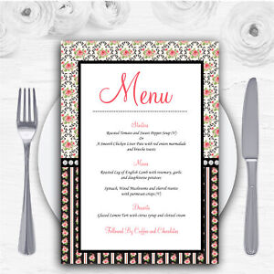 Black And Pink Shabby Chic Rose Tea Stripes Personalised Wedding Menu Cards