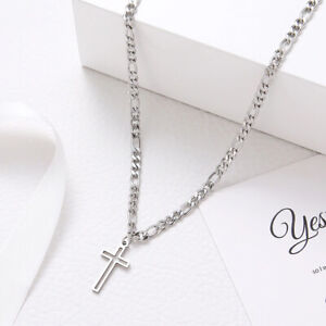 Silver Cross Crucifix Necklace Jesus Religious Charm Stainless Steel Men Chain