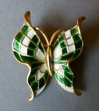 Crown Trifari Vintage Butterfly Brooch Green & White Enamel