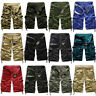 Summer Mens Casual Army Combat Camo Work Cargo Shorts Pants Trousers 3/4 Cotton