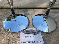NEW PAIR OF CLASSIC STYLE REPLACEMENT MIRRORS WITH CHEVROLET BOW TIE ON THE BACK