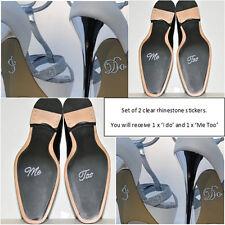 'I Do' & 'Me Too' Set Wedding Shoe Sticker - Clear Rhinestone decal/Applique