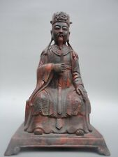 Collect Old China Copper Carving Buddhism God of Wealth Buddha Statue Decoration