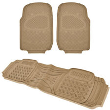 All Weather Heady Duty 3pc Car SUV Truck Front & Rear Liner Rubber Mats Tan
