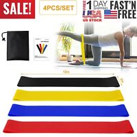 Resistance Exercise Bands Set Workout Train Loop Elastic Stretch Fitness Leg Arm