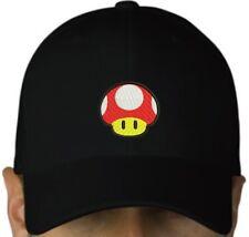 Mushroom Toad black cap hook and loop closure hat mario bros nintendo