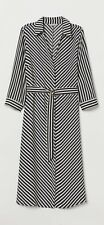 H&M Dress With A Belt Stripe Black & White Size 8 New With Tag
