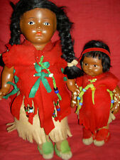 Pair cute l'bd. Madame Hendren compo. American Indian mother/daughter dolls 1916